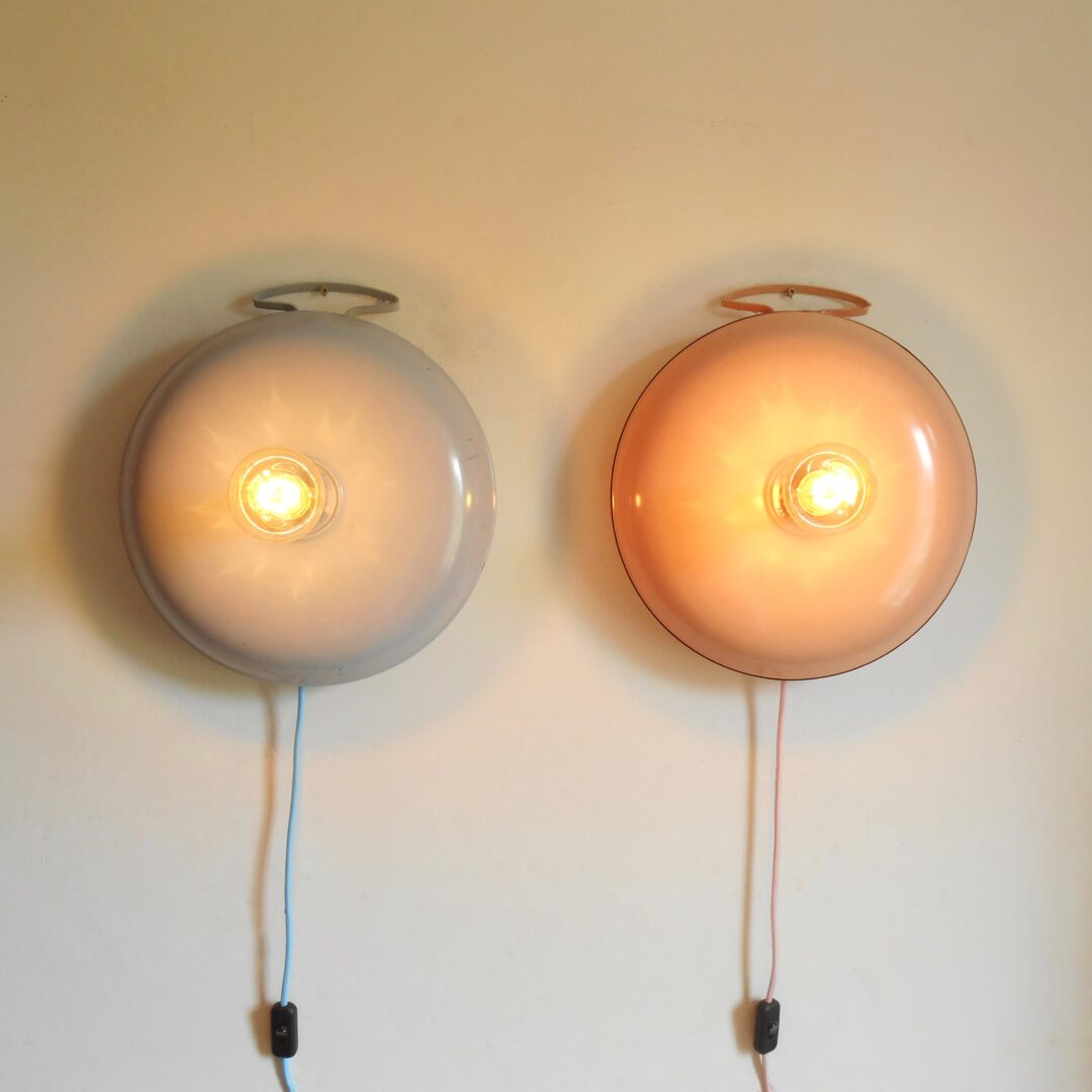 A pair of vintage lamps made from retro bed warmers by Fiona Bradshaw Designs