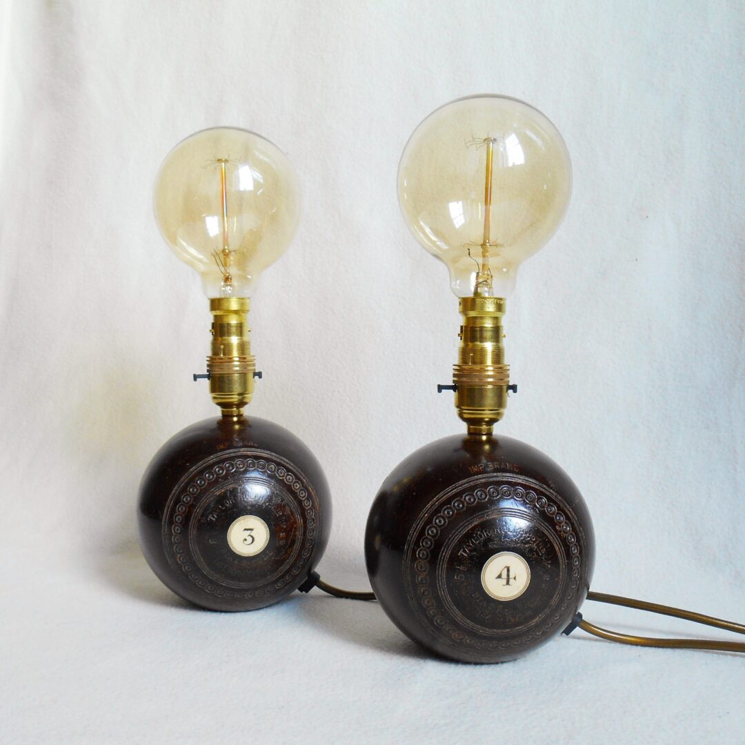 Vintage wooden bowling ball lamps by Fiona Bradshaw Designs