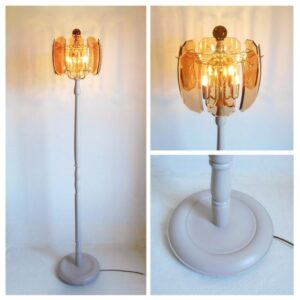 Bespoke retro smoked glass floor lamp by Fiona Bradshaw Designs