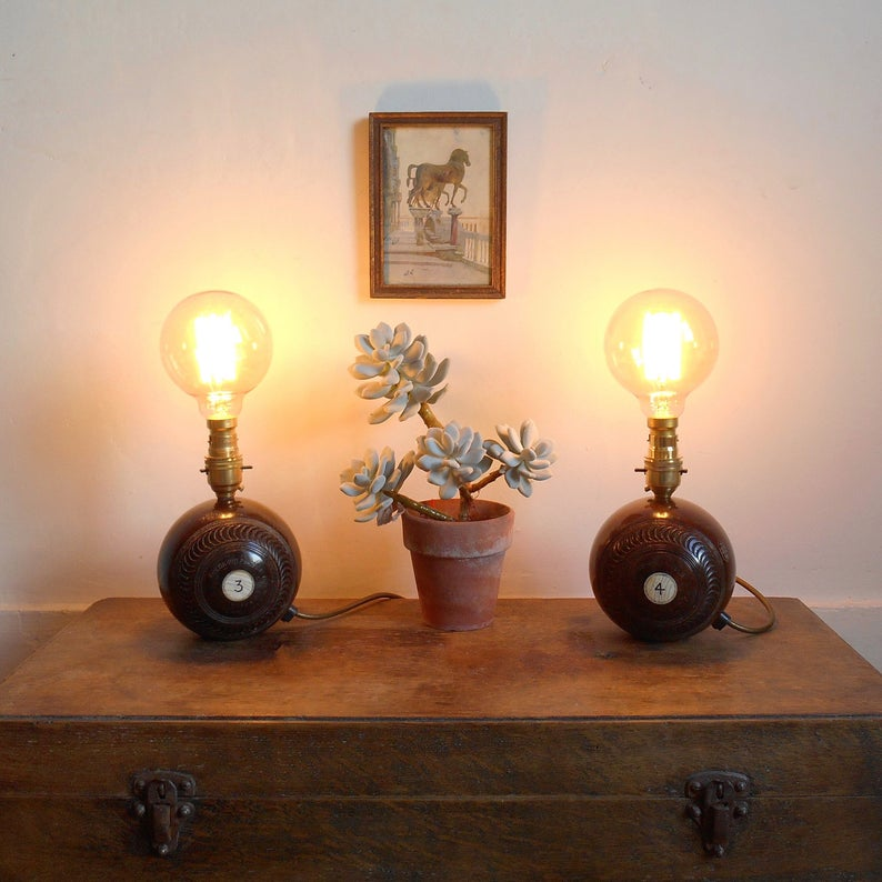 Vintage wooden bowling ball lamps