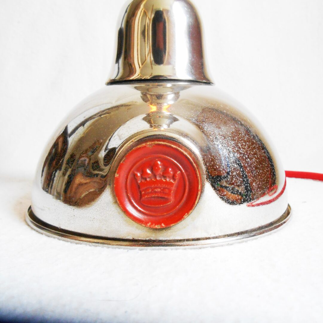 Retro red and silver tea caddy table lamp by Fiona Bradshaw Designs