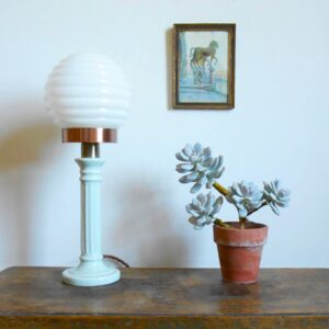 Porcelain lamp with a beehive globe shade by Fiona Bradshaw Designs