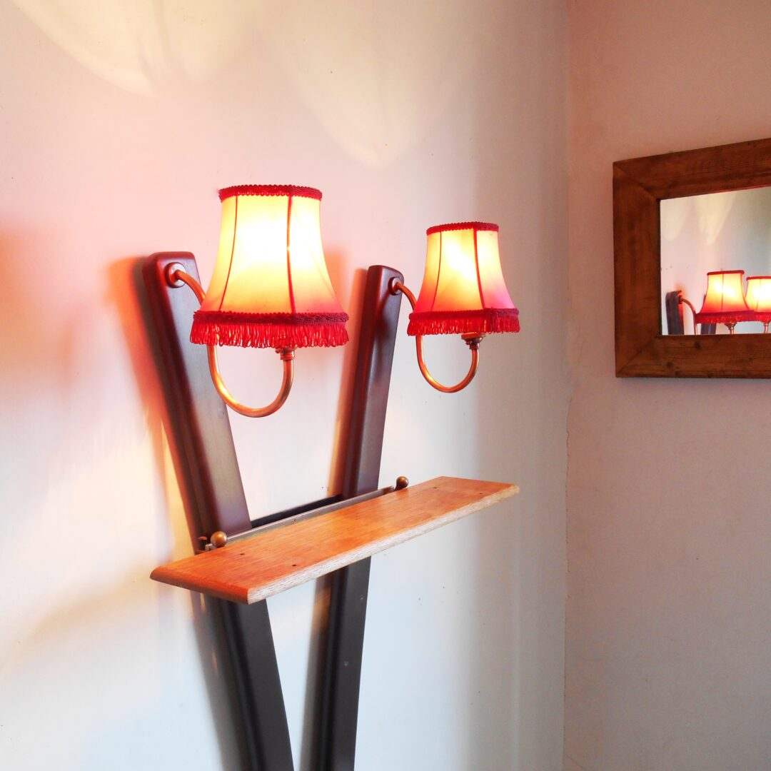 Vintage shelving unit with two copper stemmed light fittings by Fiona Bradshaw Designs