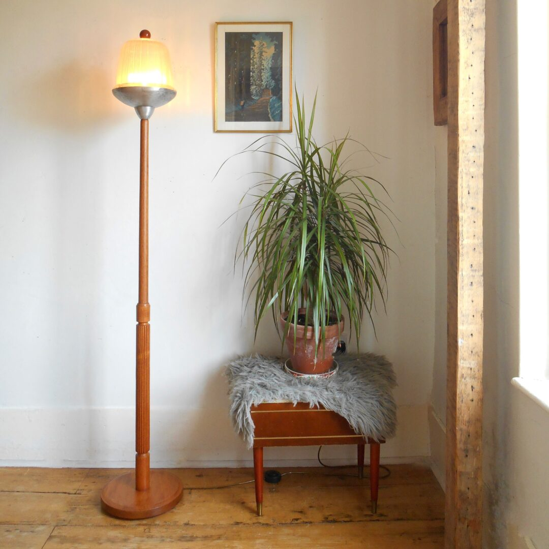 Mid century teak floor lamp with a vintage holophane street lamp shade by Fiona Bradshaw Designs