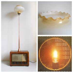 Upcycled floor lamp using a vintage radio, a copper hunting horn & an Art Deco shade by Fiona Bradshaw Designs