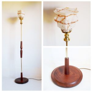 Vintage floor lamp with an Art Deco marbled hexagonal shade by Fiona Bradshaw Designs