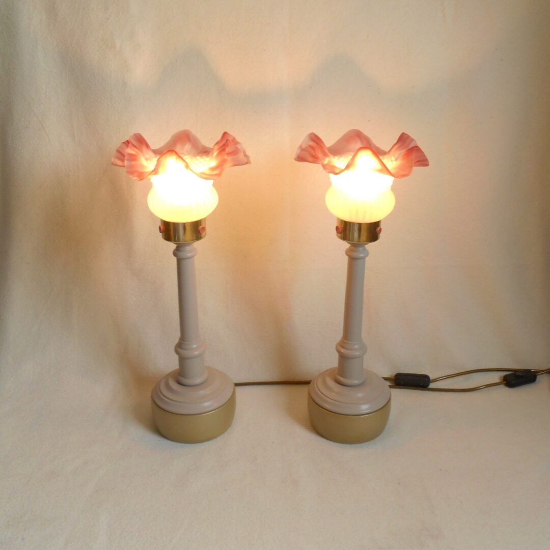A pair of Art Deco style pink frilly table lamps by Fiona Bradshaw Designs
