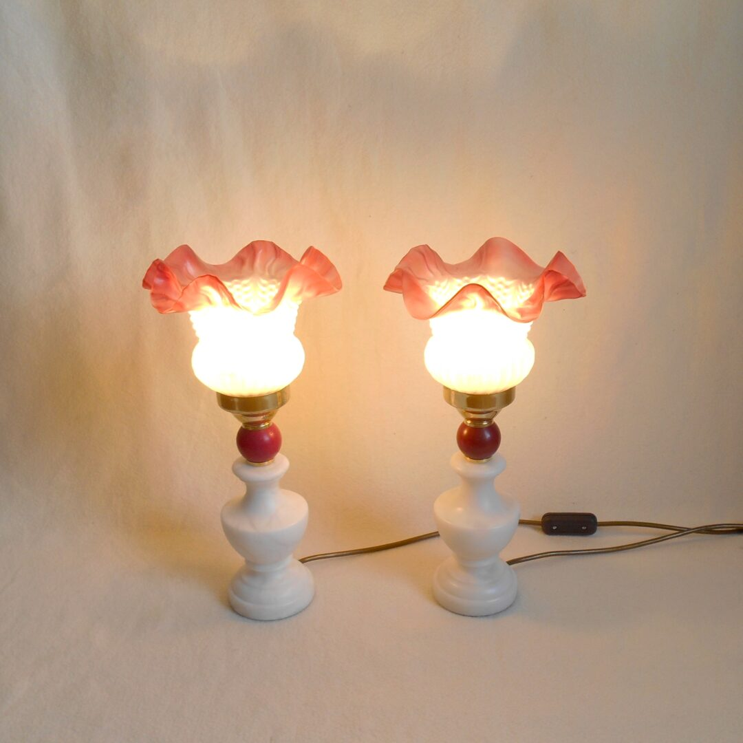 Art deco table lamps with frilly pink glass shades by Fiona Bradshaw Designs