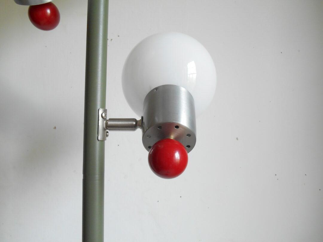 Retro floor lamp with three adjustable glass globe shades by Fiona Bradshaw Designs