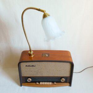 A repurposed HMV radio table lamp by Fiona Bradshaw Designs