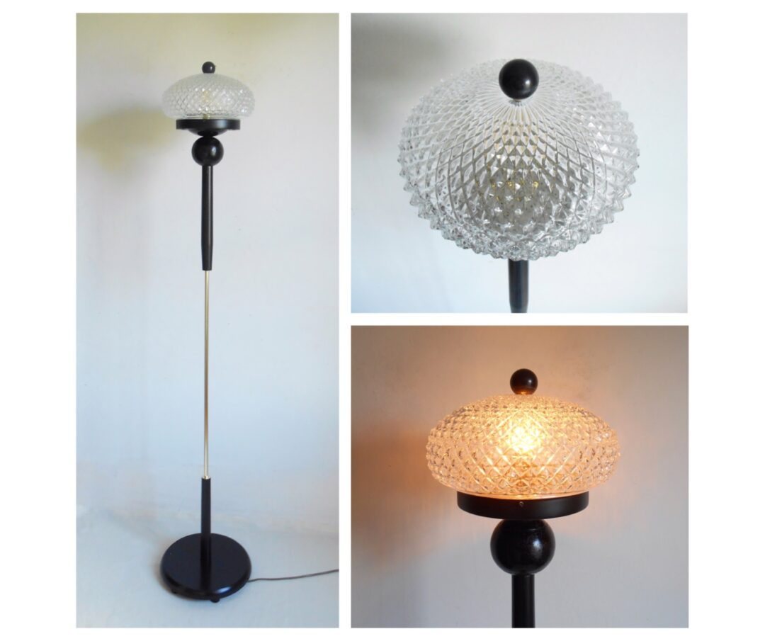 A unique floor lamp with black and gold features & a cut glass dome shade by Fiona Bradshaw Designs
