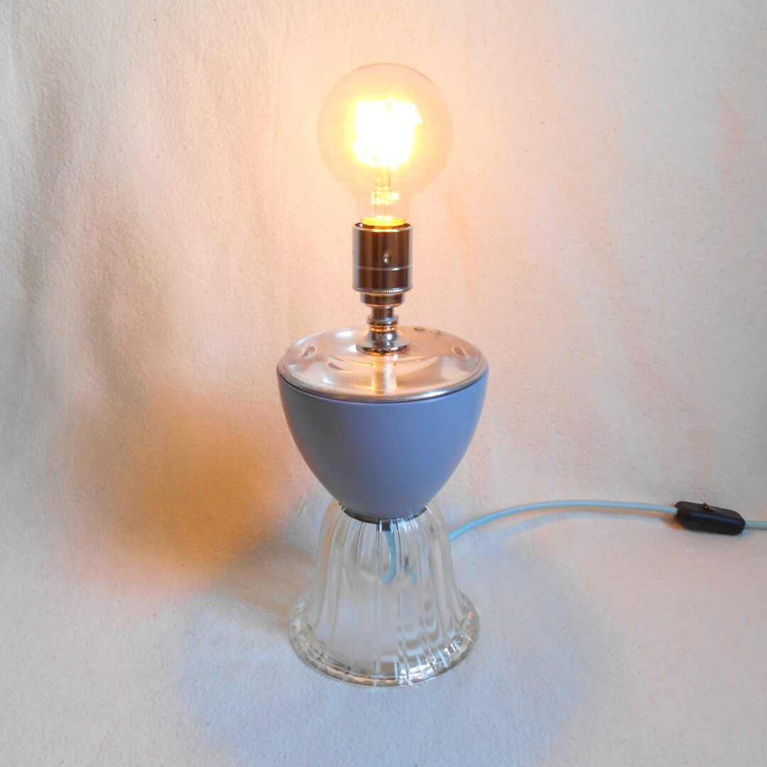 An upcycled baby blue table lamp by Fiona Bradshaw Designs