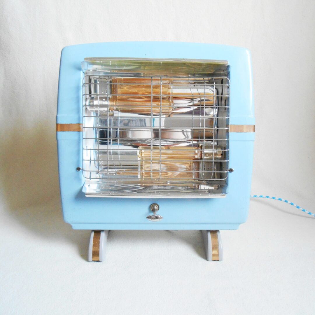 Repurposed lamp using a baby blue belling heater by Fiona Bradshaw Designs