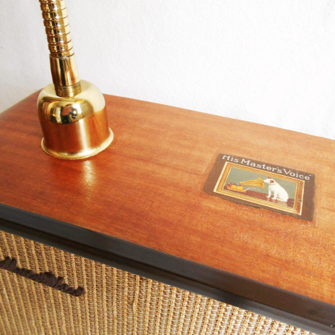 Repurposed HMV radio lamp with a vintage ochre shade by Fiona Bradshaw Designs