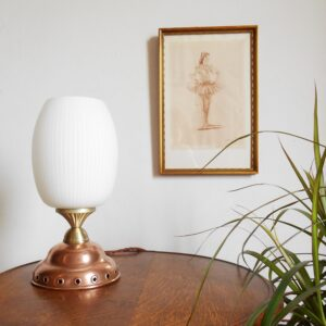Copper dolly plunger lamp with an oval opaline shade by Fiona Bradshaw Designs