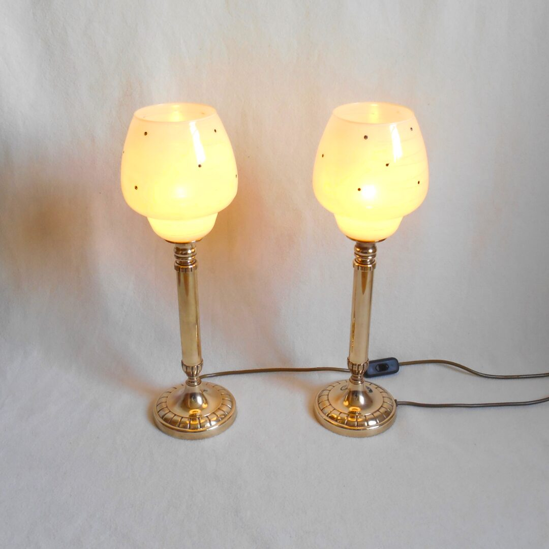 Brass table lamps with pastel yellow shades by Fiona Bradshaw Designs