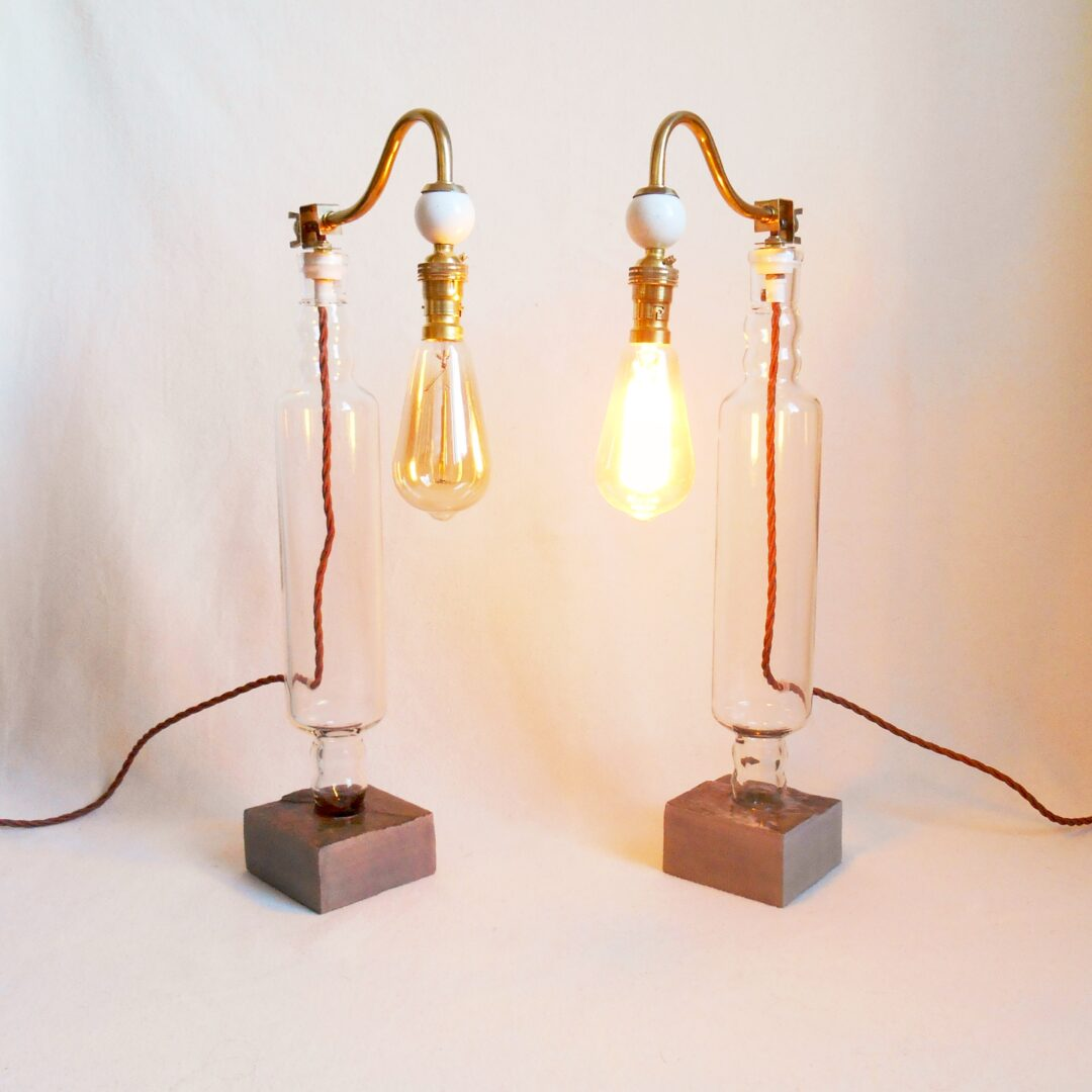 Unique lamps made from vintage glass rolling pins by Fiona Bradshaw Designs