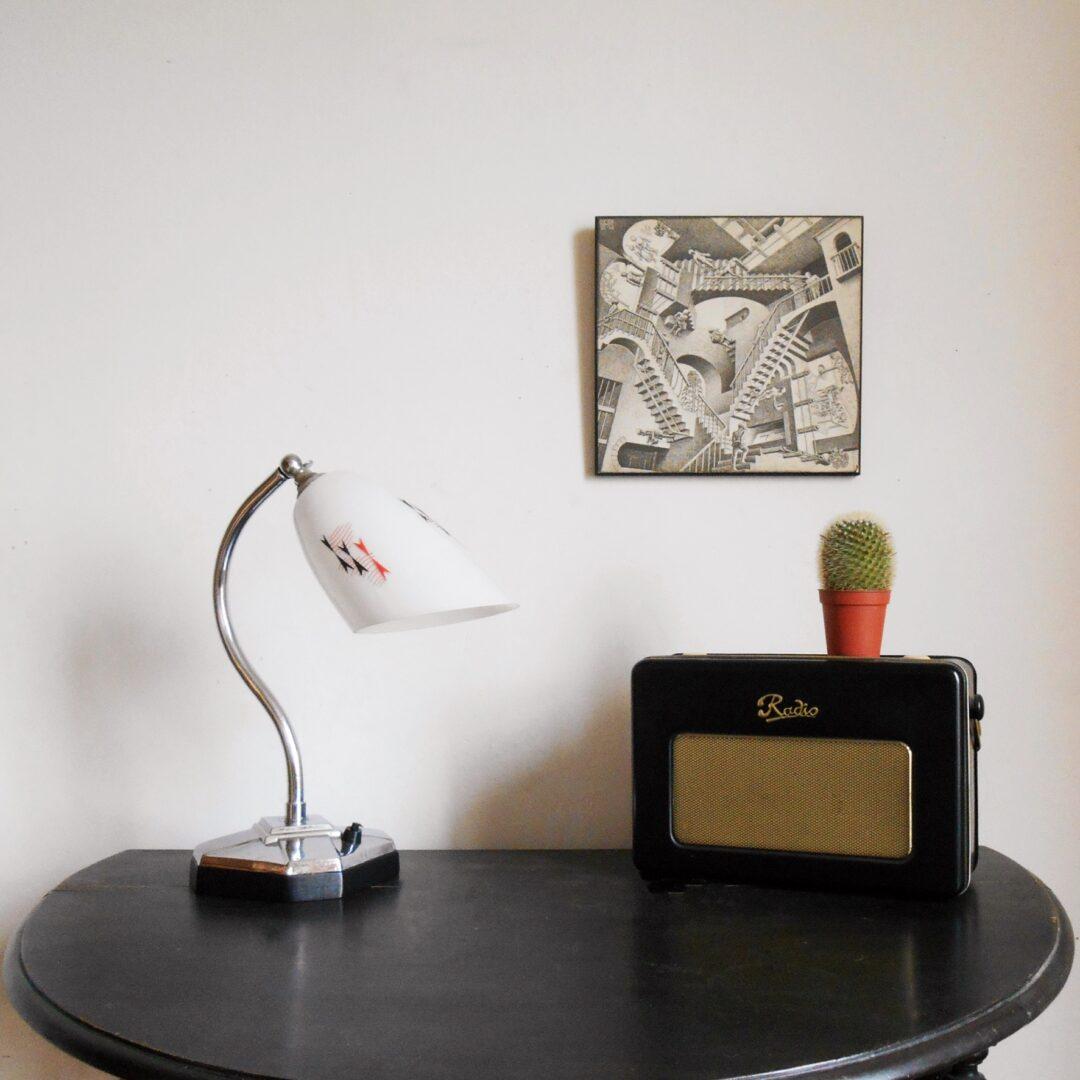 Art Deco adjustable silver chrome desk lamp