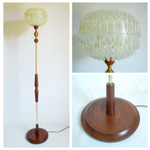 Vintage floor lamp with a retro space age shade by Fiona Bradshaw Designs