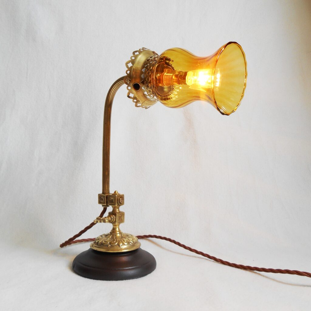 Brass and amber glass table lamp