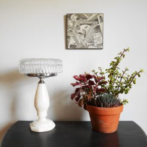 Marble table lamp with a stunning cut glass shade by Fiona Bradshaw Designs