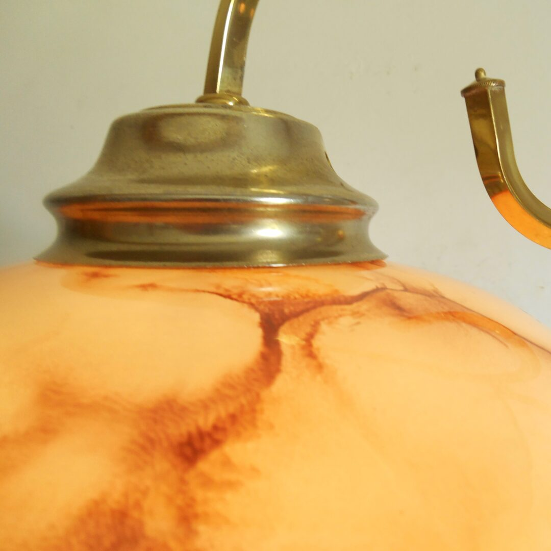 Slender floor lamp with a vintage marbled glass shade by Fiona Bradshaw Designs