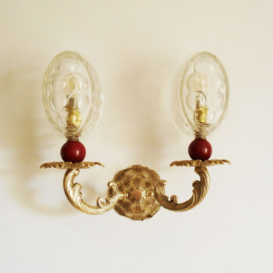 A pair of vintage jelly mould wall lamps by Fiona Bradshaw Designs