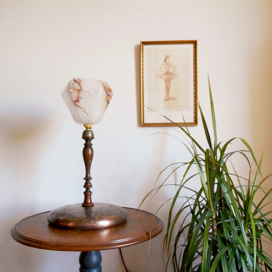 Unique table lamp with beautiful antique components by Fiona Bradshaw Designs
