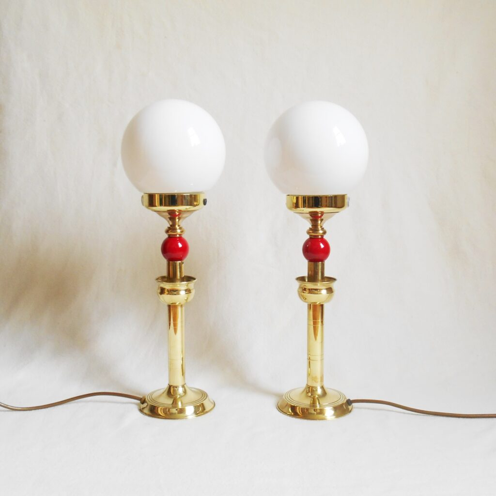 A pair of Art Deco style table lamps by Fiona Bradshaw Designs