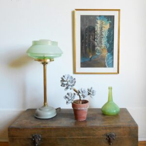 Art Deco table lamp with a mint green shade by Fiona Bradshaw Designs