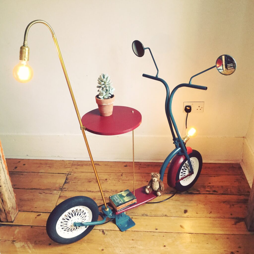Scooter lamp and side table by Fiona Bradshaw Designs