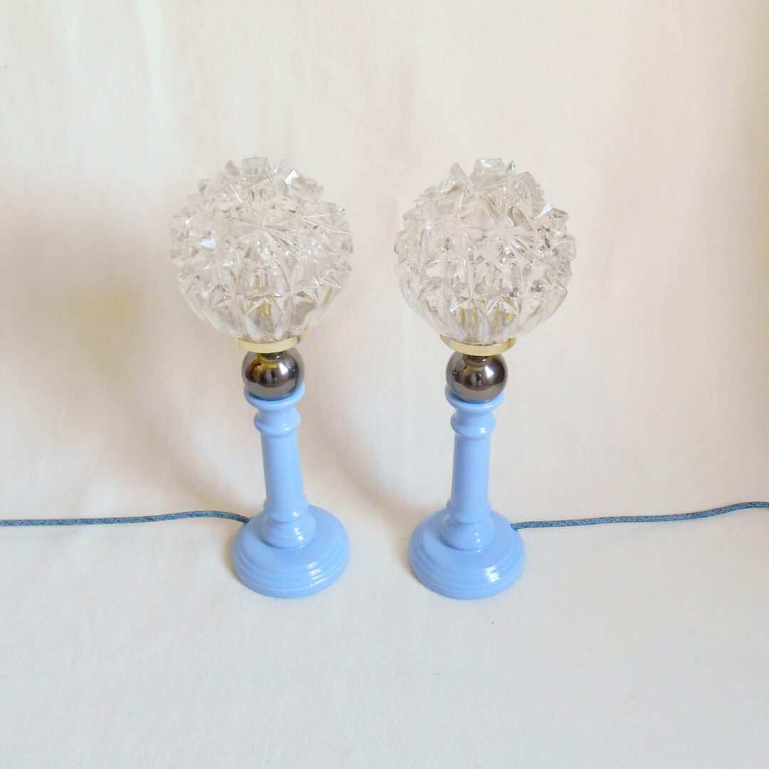 A pair of cerulean blue with star like vintage shades by Fiona Bradshaw Designs