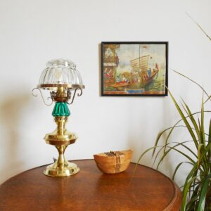 A vintage brass table lamp with a jelly mould shade by Fiona Bradshaw Designs