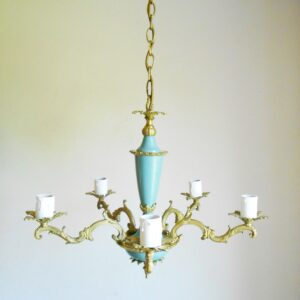 French antique chandelier with a striking blue stem by Fiona Bradshaw Designs