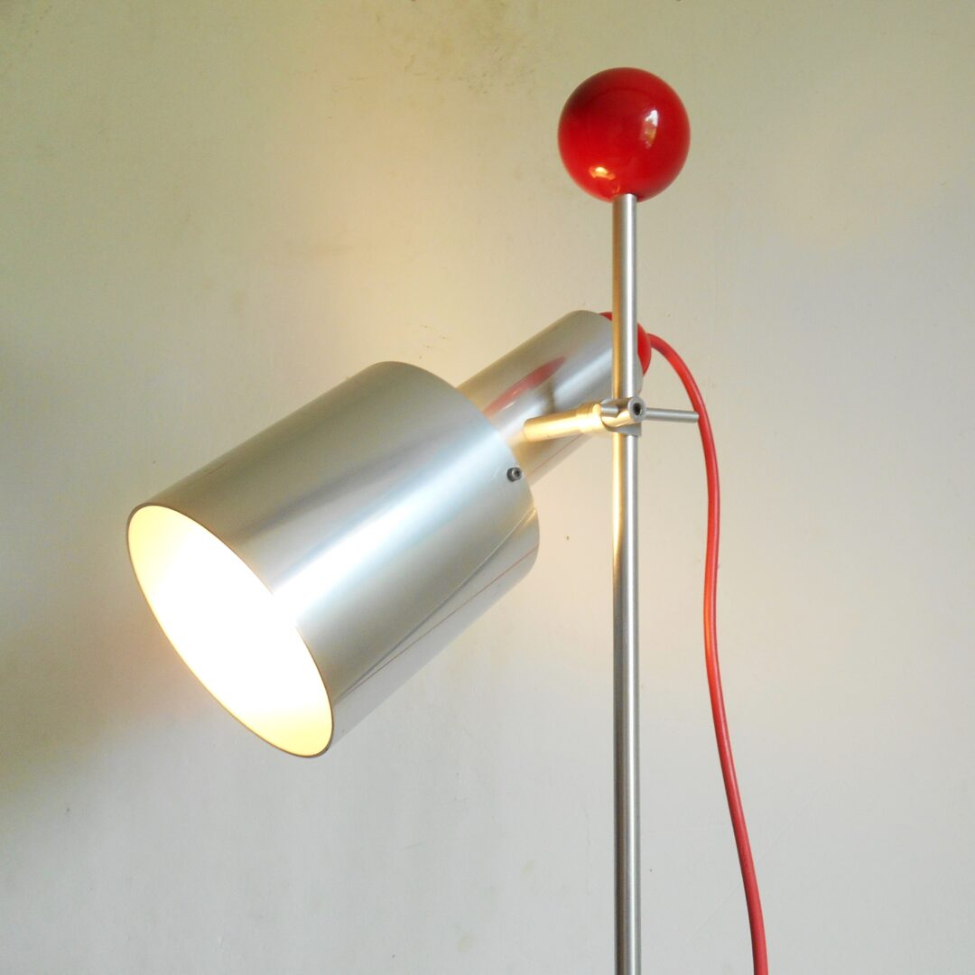 Retro silver spot lamp with red snooker balls by Fiona Bradshaw Designs