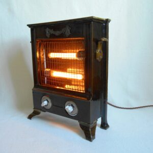 Repurposed lamp using an antique cast iron electric heater by Fiona Bradshaw Designs