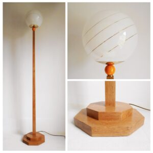 A vintage octagonal oak floor lamp with a glass domed shade by Fiona Bradshaw Designs